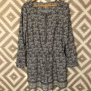 Loft Navy Blue White Paisley Long Sleeve Romper